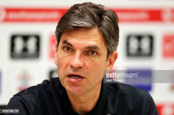 Manager Mauricio Pellegrino during a Southampton FC press conference at the Staplewood Campus on March 8 2018 in Southampton England