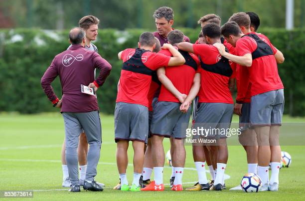 Manager Mauricio Pellegrino speaks to his players during a Southampton FC training session at the Staplewood Campus on August 17 2017 in Southampton...