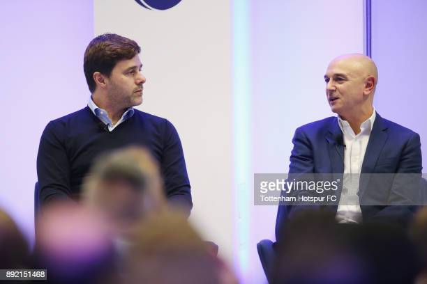 Manager Mauricio Pochettino and chairman Daniel Levy on stage at the Tottenham Hotspur Fans Forum on December 11 2017 in Tottenham England
