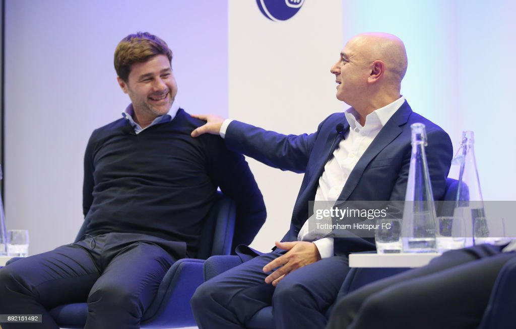 Manager Mauricio Pochettino (L) and chairman Daniel Levy on stage at the Tottenham Hotspur Fans Forum on December 11, 2017 in Tottenham, England.