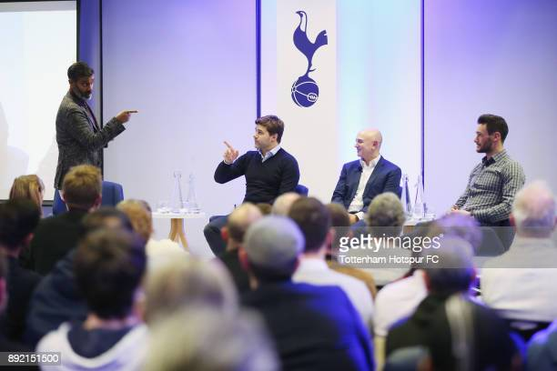 Manager Mauricio Pochettino chairman Daniel Levy captain Hugo Lloris on stage at the Tottenham Hotspur Fans Forum on December 11 2017 in Tottenham...