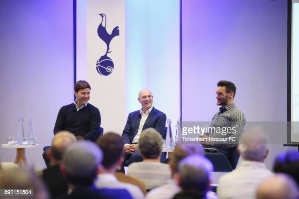 Manager Mauricio Pochettino chairman Daniel Levy captain Hugo Lloris on stage at the Tottenham Hotspur Fans Forum on December 11 2017 in Tottenham...
