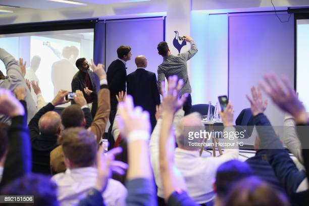 Manager Mauricio Pochettino chairman Daniel Levy captain Hugo Lloris take a selfie on stage at the Tottenham Hotspur Fans Forum on December 11 2017...