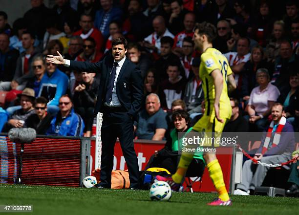 Manager Mauricio Pochettino of Spurs gives direction during the Barclays Premier League match between Southampton and Tottenham Hotspur at St Mary's...