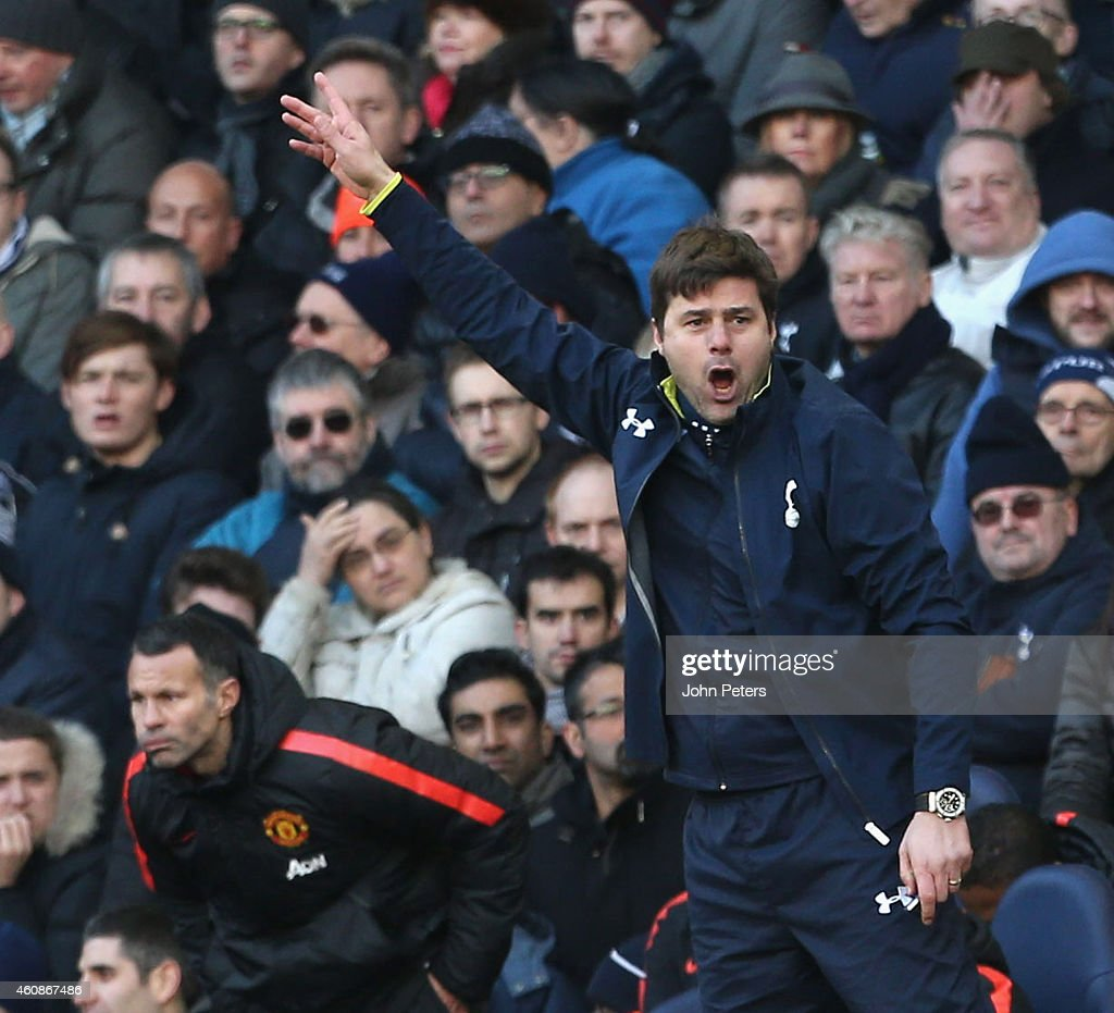 Manager Mauricio Pochettino of Tottenham Hotspur watches from the touchline during the Barclays Premier League match between Tottenham Hotspur and Manchester United at White Hart Lane on December 28, 2014 in London, England.