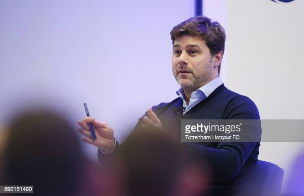 Manager Mauricio Pochettino speaks at the Tottenham Hotspur Fans Forum on December 11 2017 in Tottenham England