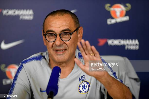Manager Maurizio Sarri of Chelsea during a press conference at Chelsea Training Ground on August 17 2018 in Cobham England