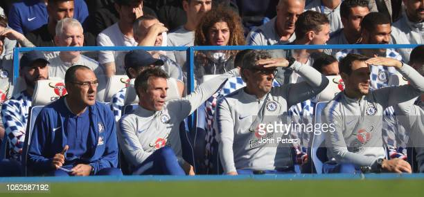 Manager Maurizio Sarri of Chelsea watches from the dugout during the Premier League match between Chelsea FC and Manchester United at Stamford Bridge...