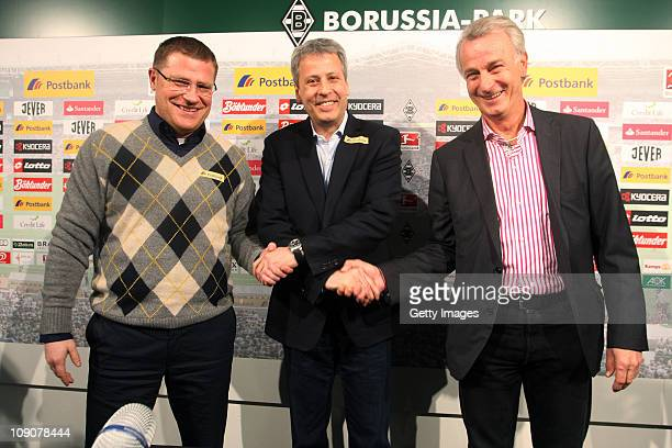 Manager Max Eberl and Vice president Rainer Bonhof present Lucien Favre as new head coach of Borussia Moenchengladbach at Borussia Park on February...
