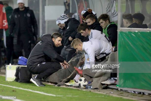Manager Meikel Schoenweitz of Germany gives instructions during the Under 19 Euro Qualifier between Germany and Scotland on March 21 2018 in...