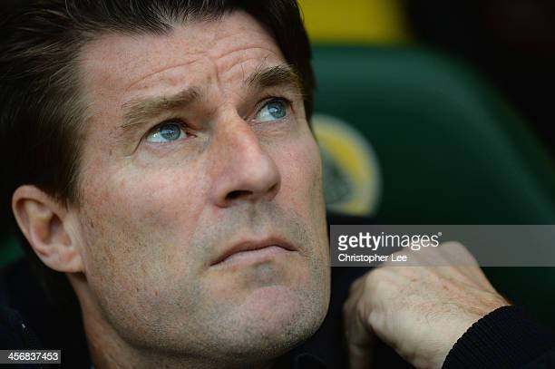 Manager Michael Laudrup of Swansea during the Barclays Premier League match between Norwich City and Swansea City at Carrow Road on December 15 2013...