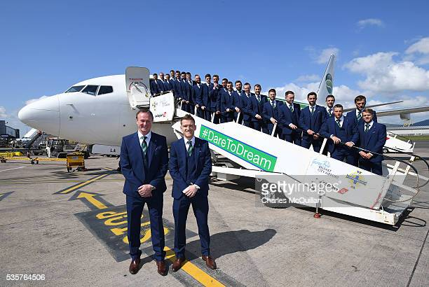 Manager Michael O'Neill and captain Steve Davis with the Northern Ireland team as they pose for an official photograph before their training camp...