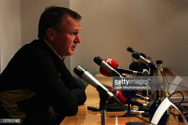 Manager Michael O'Neill speaks during the Shamrock Press Conference held at White Hart Lane on September 28 2011 in London England