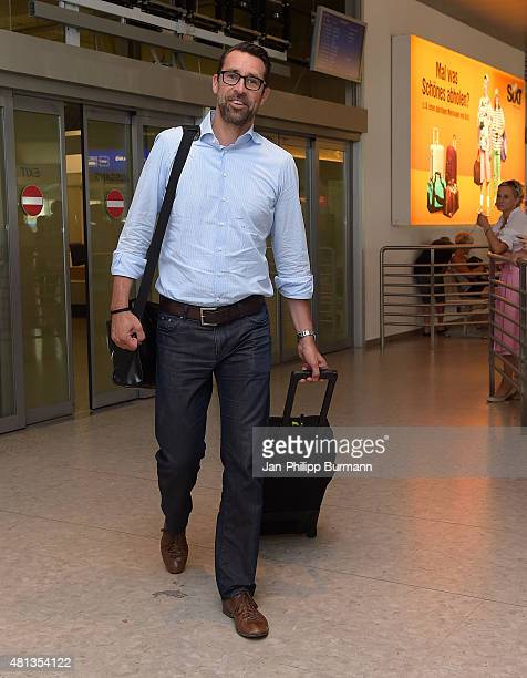 Manager Michael Preetz of Hertha BSC during their arrival at Salzburg Airport ahead of the training camp in Schladming on July 19 2015 in Salzburg...