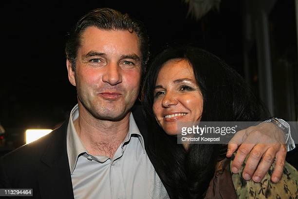 Manager Michael Zorc and his wife Jola Zorc pses before elebrate winning the German Championships at a restaurant on April 30 2011 in Dortmund Germany
