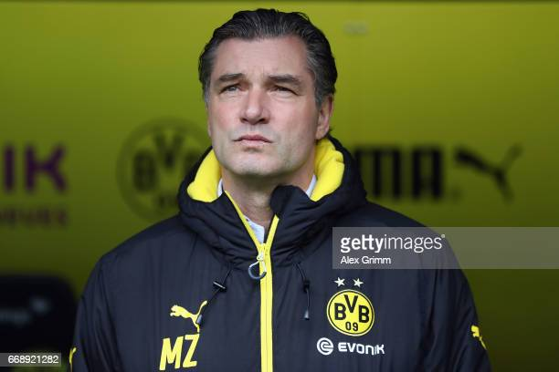 Manager Michael Zorc looks on prior to the Bundesliga match between Borussia Dortmund and Eintracht Frankfurt at Signal Iduna Park on April 15 2017...