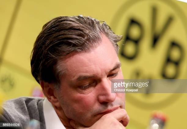 Manager Michael Zorc of Dortmund is seen during the press conference at Signal Iduna Park on December 10 2017 in Dortmund Germany