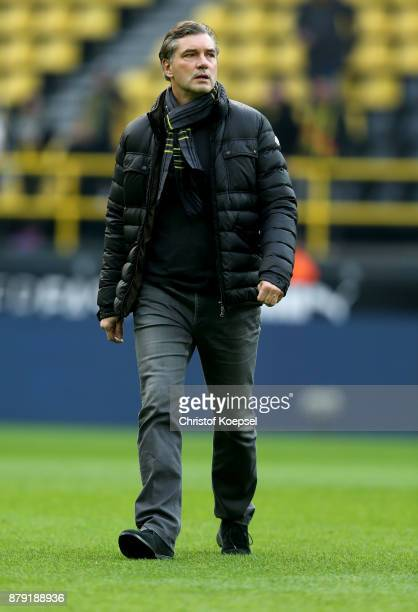 Manager Michael Zorc of Dortmund is seen prior to the Bundesliga match between Borussia Dortmund and FC Schalke 04 at Signal Iduna Park on November...