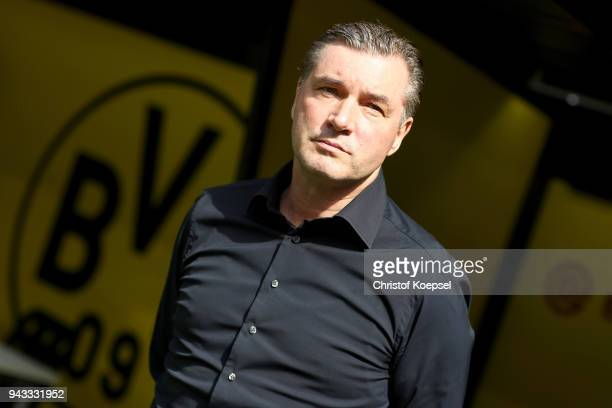 Manager Michael Zorc of Dortmund looks on prior to during the Bundesliga match between Borussia Dortmund and VfB Stuttgart at Signal Iduna Park on...