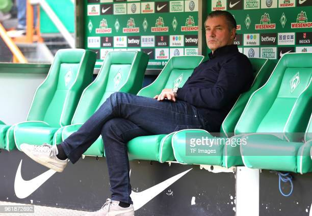 Manager Michael Zorc of Dortmund looks on prior to the Bundesliga match between SV Werder Bremen and Borussia Dortmund at Weserstadion on April 29...