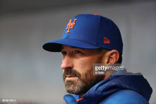 Manager Mickey Callaway of the New York Mets against the Milwaukee Brewers during their game at Citi Field on April 15 2018 in New York City All...