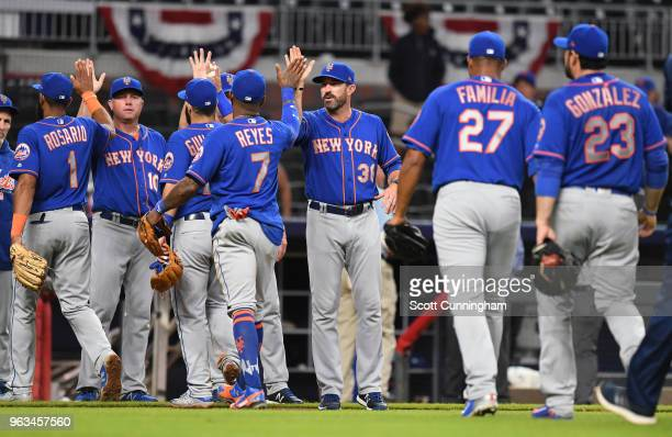 Manager Mickey Callaway of the New York Mets celebrates after the game against the Atlanta Braves at SunTrust Field on May 28 2018 in Atlanta Georgia
