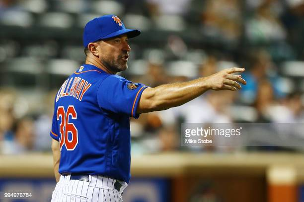 Manager Mickey Callaway of the New York Mets gestures during action against the Philadelphia Phillies in game two of a doubleheader at Citi Field on...