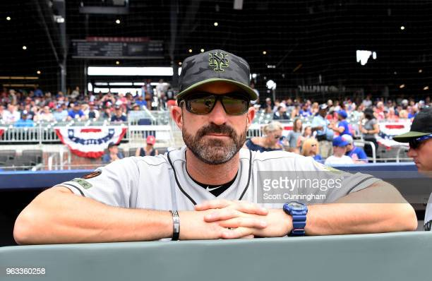 Manager Mickey Callaway of the New York Mets gets ready for the start of the game against the Atlanta Braves during game one of a doubleheader at...