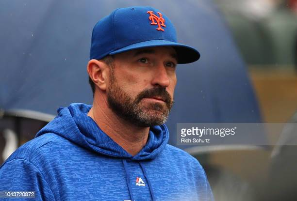 Manager Mickey Callaway of the New York Mets in action against the Philadelphia Phillies during a game at Citi Field on September 9 2018 in the...