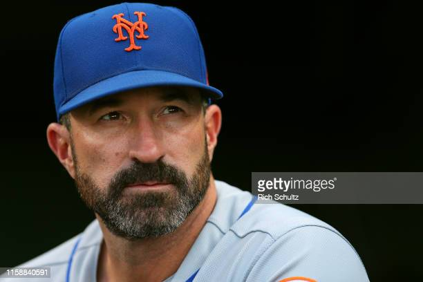 Manager Mickey Callaway of the New York Mets in action against the Philadelphia Phillies during a baseball game at Citizens Bank Park on June 26 2019...