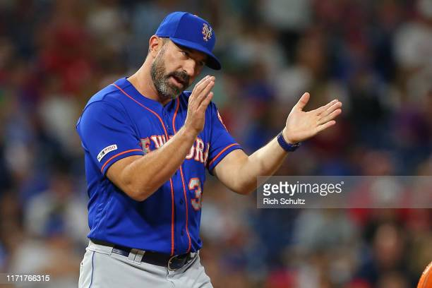 Manager Mickey Callaway of the New York Mets in action against the Philadelphia Phillies during a game at Citizens Bank Park on September 1 2019 in...