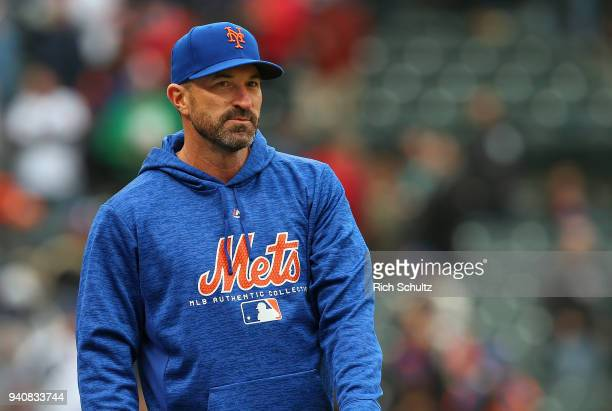 Manager Mickey Callaway of the New York Mets in action during a game against the St Louis Cardinals at Citi Field on March 29 2018 in the Flushing...