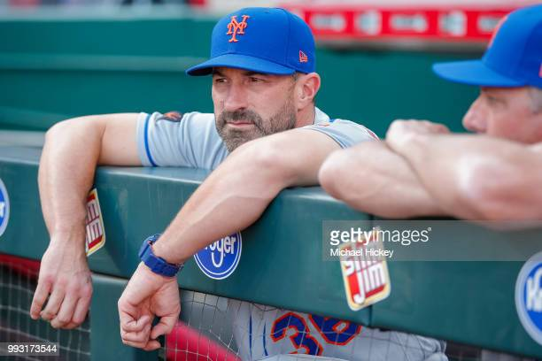 Manager Mickey Callaway of the New York Mets is seen before the game against the Cincinnati Reds at Great American Ball Park on May 8 2018 in...