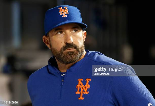 Manager Mickey Callaway of the New York Mets looks on against the Detroit Tigers at Citi Field on May 24 2019 in New York City The Tigers defeated...