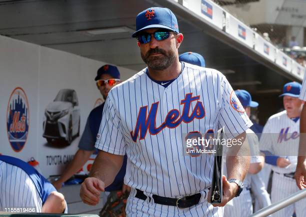 Manager Mickey Callaway of the New York Mets looks on against the Colorado Rockies at Citi Field on June 09 2019 in New York City The Mets defeated...