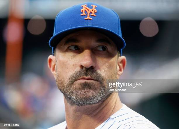 Manager Mickey Callaway of the New York Mets looks on before a game against the Los Angeles Dodgers at Citi Field on June 23 2018 in the Flushing...