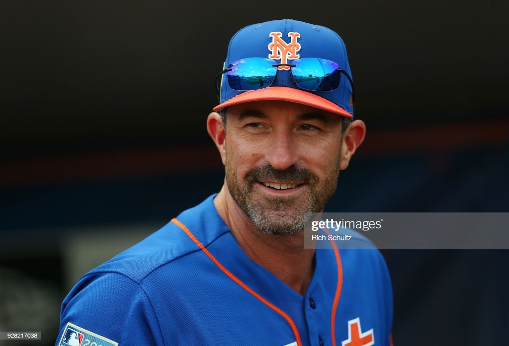 Manager Mickey Callaway #36 of the New York Mets looks on before a spring training game against the Houston Astros at First Data Field on March 6, 2018 in Port St. Lucie, Florida. The Mets defeated the Astros 9-5.