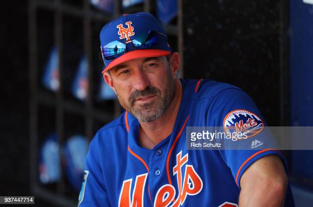 Manager Mickey Callaway of the New York Mets looks on before a spring training game against the Houston Astros at First Data Field on March 6 2018 in...