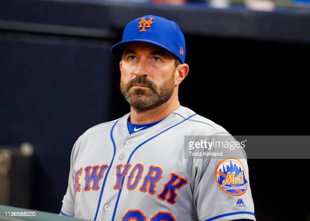 Manager Mickey Callaway of the New York Mets looks on before the seventh inning of an MLB game against the Atlanta Braves at SunTrust Park on April...