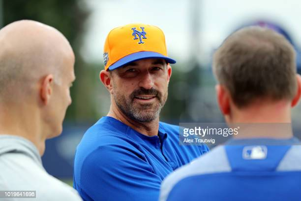 Manager Mickey Callaway of the New York Mets looks on during batting practice prior to the 2018 Little League Classic against the Philadelphia...