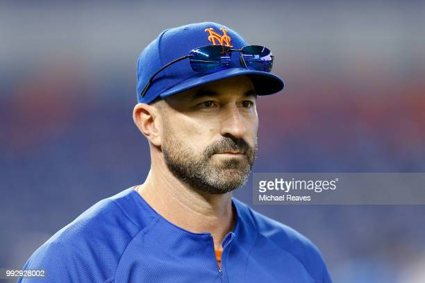Manager Mickey Callaway of the New York Mets looks on during batting practice prior to the game against the Miami Marlins at Marlins Park on June 29...