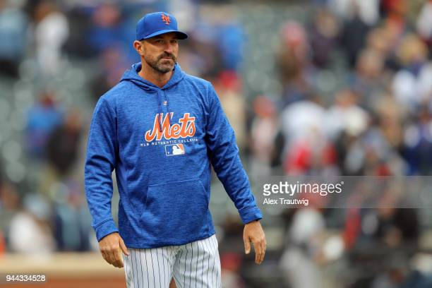 Manager Mickey Callaway of the New York Mets looks on following the game against the St Louis Cardinals at Citi Field on Thursday March 29 2018 in...