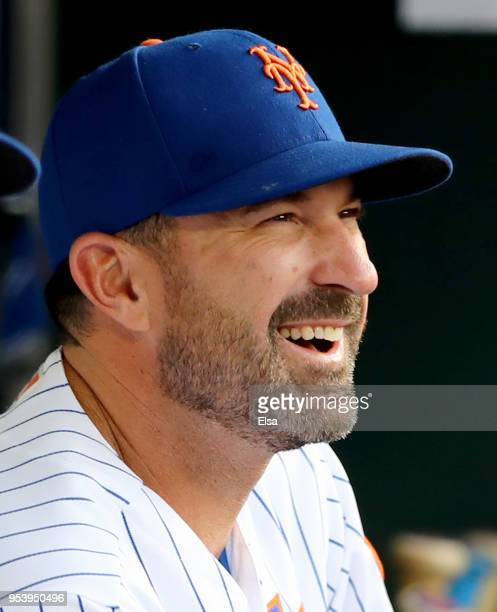 Manager Mickey Callaway of the New York Mets looks on from the dugout before the game against the Atlanta Braves on May 2 2018 at Citi Field in the...