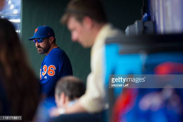 Manager Mickey Callaway of the New York Mets looks on in the dugout prior to the game against the Philadelphia Phillies at Citizens Bank Park on June...