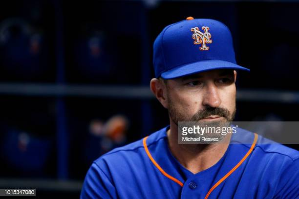 Manager Mickey Callaway of the New York Mets looks on prior to the game against the Miami Marlins at Marlins Park on August 11 2018 in Miami Florida