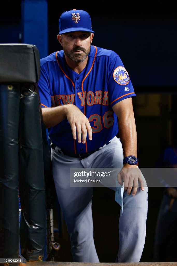 Manager Mickey Callaway #36 of the New York Mets looks on prior to the game against the Miami Marlins at Marlins Park on August 11, 2018 in Miami, Florida.
