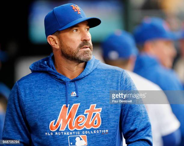 Manager Mickey Callaway of the New York Mets looks over in the dugout prior to an MLB baseball game against the Milwaukee Brewers on April 14 2018 at...