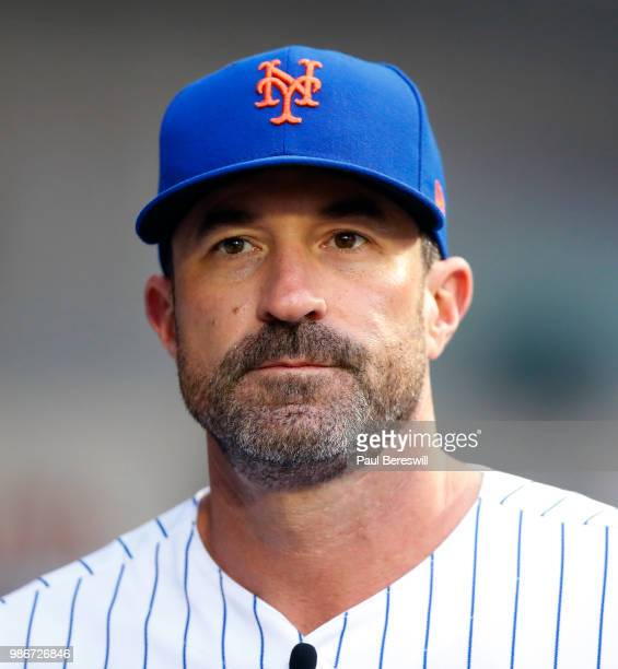 Manager Mickey Callaway of the New York Mets looks over in the dugout before an MLB baseball game against the Los Angeles Dodgers on June 23 2018 at...