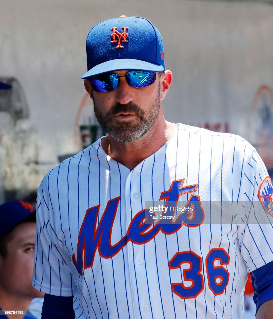 Manager Mickey Callaway #36 of the New York Mets reacts during an interleague MLB baseball game against the Tampa Bay Rays on July 8, 2018 at Citi Field in the Queens borough of New York City. Rays won 9-0.