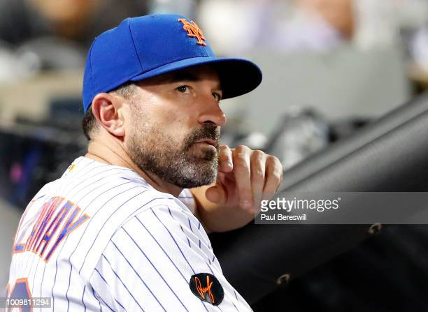 Manager Mickey Callaway of the New York Mets reacts in the dugout late in an MLB baseball game against the San Diego Padres on July 23 2018 at Citi...